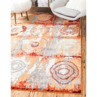Unique Loom Turkish Barcelona Orange Polypropylene Rug (10'5x16'4)