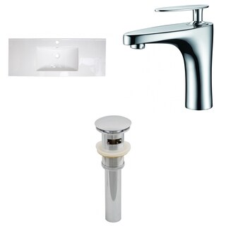 48-in. W x 18-in. D Ceramic Top Set In White Color With Single Hole CUPC Faucet And Drain