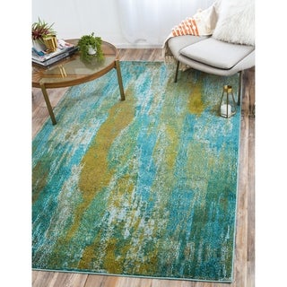 Turkish Barcelona Turquoise Polypropylene Rug (10'5x16'4)