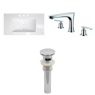 36-in. W x 20-in. D Ceramic Top Set In White Color With 8-in. o.c. CUPC Faucet And Drain