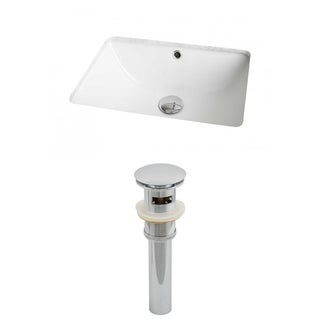 18.25-in. W x 13.5-in. D Rectangle Undermount Sink Set In White And Drain