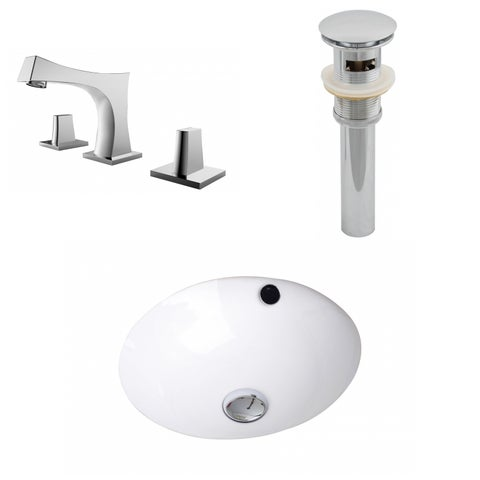 16.5-in. W x 16.5-in. D CUPC Round Undermount Sink Set In White With 8-in. o.c. CUPC Faucet And Drain