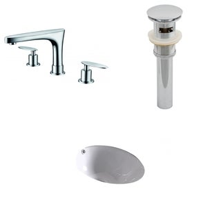 15.25-in. W x 15.25-in. D CUPC Round Undermount Sink Set In White With 8-in. o.c. CUPC Faucet And Drain