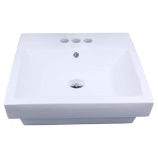 20.5-in. W x 18.5-in. D Semi-Recessed Rectangle Vessel In White Color For 4-in. o.c. Faucet