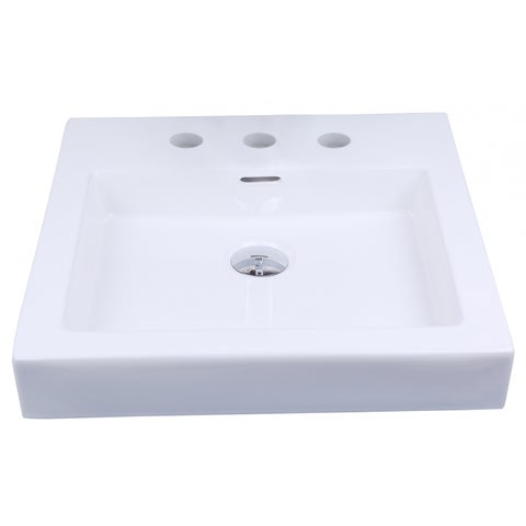 19-in. W x 17.5-in. D Above Counter Rectangle Vessel In White Color For 8-in. o.c. Faucet