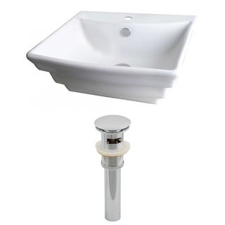 20-in. W x 18-in. D Rectangle Vessel Set In White Color And Drain