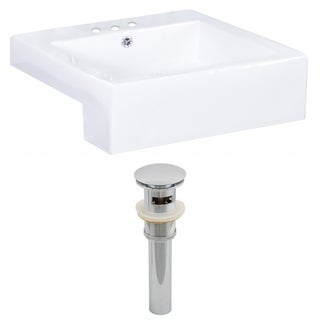20-in. W x 20-in. D Rectangle Vessel Set In White Color And Drain