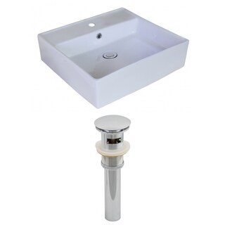 18-in. W x 18-in. D Rectangle Vessel Set In White Color And Drain