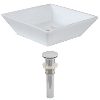 16-in. W x 16-in. D Square Vessel Set In White Color And Drain