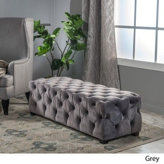 Christopher Knight Home Piper Tufted Velvet Fabric Rectangle Ottoman Bench