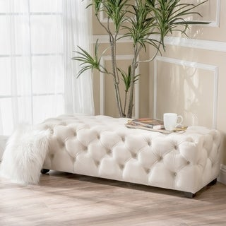 Piper Tufted Velvet Fabric Rectangle Ottoman Bench by Christopher Knight Home (Cream)