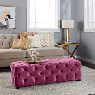 Piper Tufted Velvet Fabric Rectangle Ottoman Bench by Christopher Knight Home (Option: FUCHSIA)