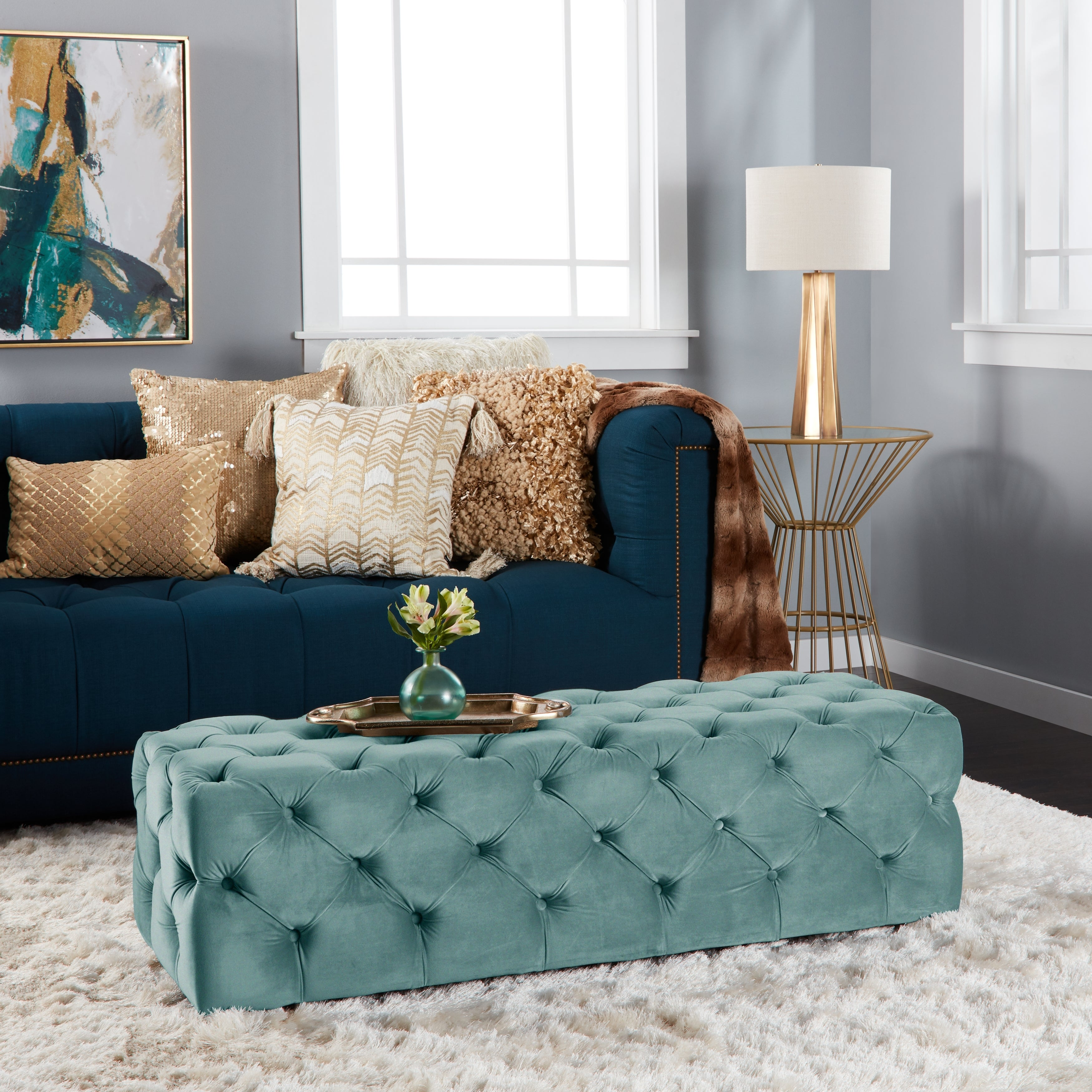 Phenomenal Piper Tufted Velvet Fabric Rectangle Ottoman Bench By Christopher Knight Home Inzonedesignstudio Interior Chair Design Inzonedesignstudiocom