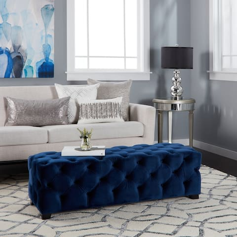 Piper Modern Glam Tufted Velvet Ottoman Bench by Christopher Knight Home
