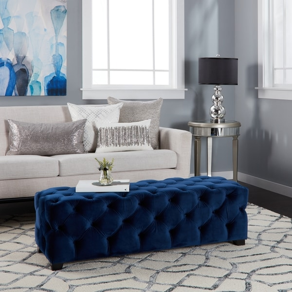 Shop Piper Tufted Velvet Fabric Rectangle Ottoman Bench By