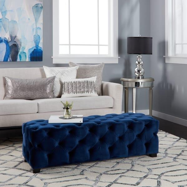 Tremendous Shop Piper Tufted Velvet Fabric Rectangle Ottoman Bench By Inzonedesignstudio Interior Chair Design Inzonedesignstudiocom