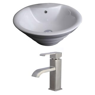 19-in. W x 19-in. D Round Vessel Set In White Color With Single Hole CUPC Faucet