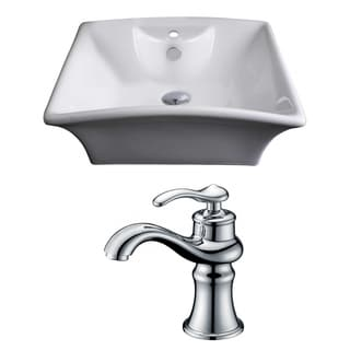 20-in. W x 17-in. D Rectangle Vessel Set In White Color With Single Hole CUPC Faucet