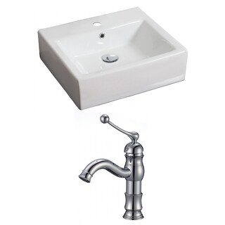 20-in. W x 18-in. D Rectangle Vessel Set In White Color With Single Hole CUPC Faucet