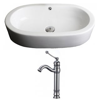 25-in. W x 15-in. D Oval Vessel Set In White Color With Deck Mount CUPC Faucet