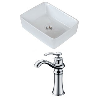 19-in. W x 14-in. D Rectangle Vessel Set In White Color With Deck Mount CUPC Faucet