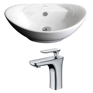 23-in. W x 15-in. D Oval Vessel Set In White Color With Single Hole CUPC Faucet