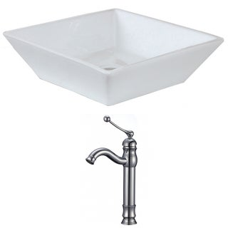 16-in. W x 16-in. D Square Vessel Set In White Color With Deck Mount CUPC Faucet