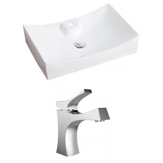 27-in. W x 18-in. D Rectangle Vessel Set In White Color With Single Hole CUPC Faucet