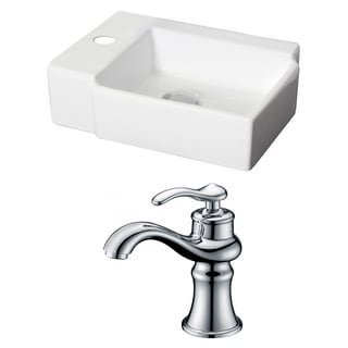 16.25-in. W x 12-in. D Rectangle Vessel Set In White Color With Single Hole CUPC Faucet