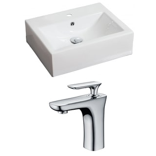 20.5-in. W x 16-in. D Rectangle Vessel Set In White Color With Single Hole CUPC Faucet