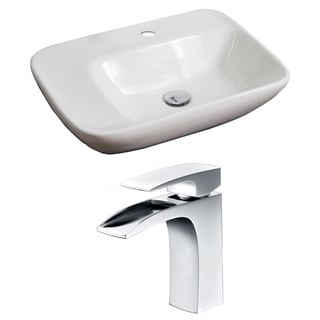 23-in. W x 17-in. D Rectangle Vessel Set In White Color With Single Hole CUPC Faucet