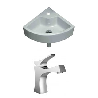 19-in. W x 19-in. D Unique Vessel Set In White Color With Single Hole CUPC Faucet