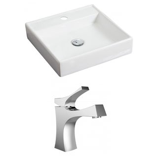 17.5-in. W x 17.5-in. D Square Vessel Set In White Color With Single Hole CUPC Faucet
