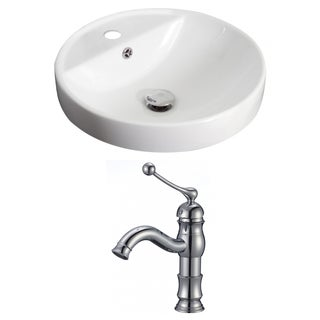18.5-in. W x 18.5-in. D Round Vessel Set In White Color With Single Hole CUPC Faucet