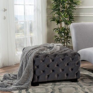 Piper Tufted Velvet Fabric Square Ottoman Bench by Christopher Knight Home