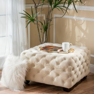 Piper Tufted Velvet Fabric Square Ottoman Bench by Christopher Knight Home (Option: Ivory)