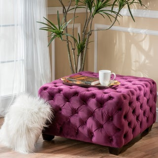 Piper Tufted Velvet Fabric Square Ottoman Bench by Christopher Knight Home (Option: Fuchsia)