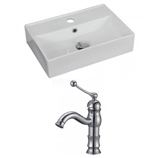 20-in. W x 14-in. D Rectangle Vessel Set In White Color With Single Hole CUPC Faucet