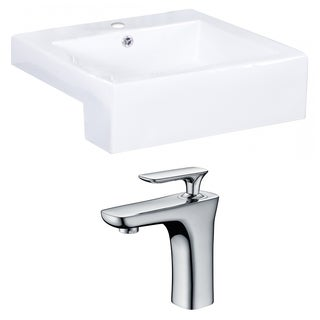 20-in. W x 20-in. D Rectangle Vessel Set In White Color With Single Hole CUPC Faucet