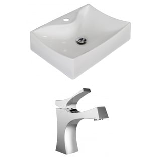 21.5-in. W x 16-in. D Rectangle Vessel Set In White Color With Single Hole CUPC Faucet