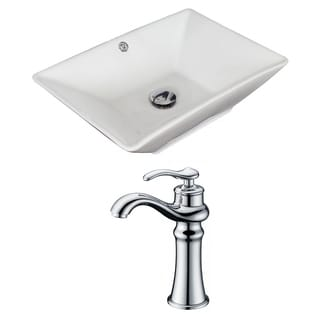 21.5-in. W x 15-in. D Rectangle Vessel Set In White Color With Deck Mount CUPC Faucet