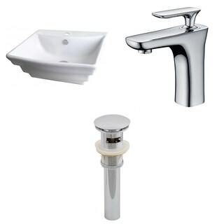 20-in. W x 18-in. D Rectangle Vessel Set In White Color With Single Hole CUPC Faucet And Drain