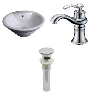 19-in. W x 19-in. D Round Vessel Set In White Color With Single Hole CUPC Faucet And Drain