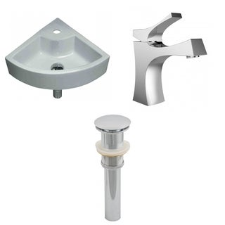 19-in. W x 19-in. D Unique Vessel Set In White Color With Single Hole CUPC Faucet And Drain