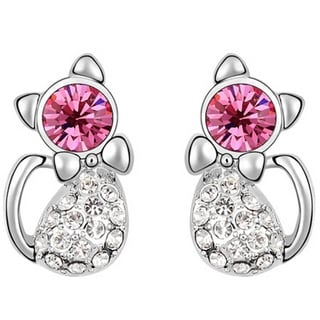 Cat Earrings Crystal Silver Stud Cat Earrings (Option: Pink)