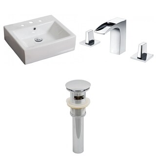 20-in. W x 18-in. D Rectangle Vessel Set In White Color With 8-in. o.c. CUPC Faucet And Drain