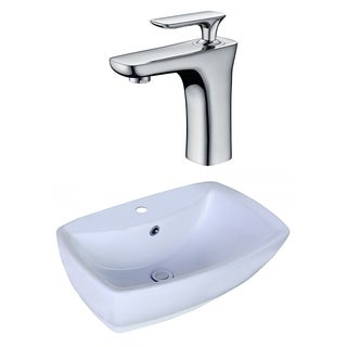 21.65-in. W x 15.35-in. D Rectangle Vessel Set In White Color With Single Hole CUPC Faucet