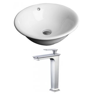 18-in. W x 18-in. D Round Vessel Set In White Color With Deck Mount CUPC Faucet