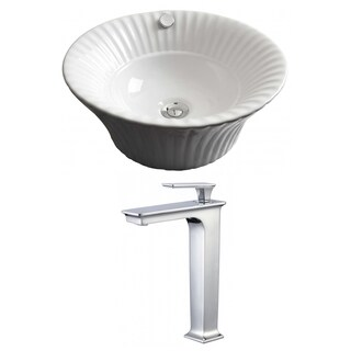 17-in. W x 17-in. D Round Vessel Set In White Color With Deck Mount CUPC Faucet
