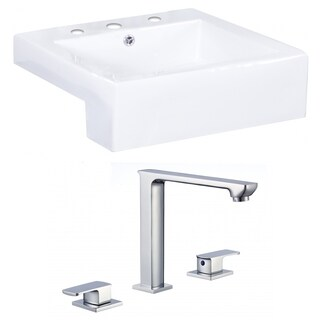 20-in. W x 20-in. D Square Vessel Set In White Color With 8-in. o.c. CUPC Faucet